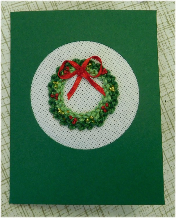 a Christmas wreath finished as a card
