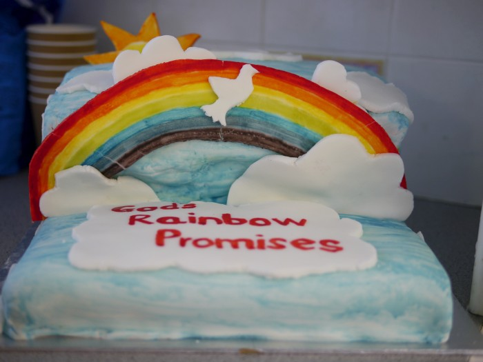 Messy Church God's Rainbow Promise - A rainbow cake