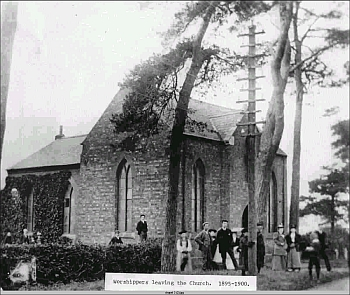 Worshippers leaving the church, c.1890-1900